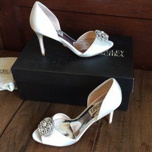 Badgley Mischka White Satin Bridal Shoes